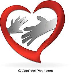 logotipo, figlio, madre, famiglia, mani