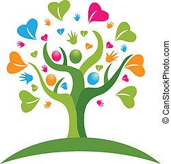 logotipo, figuras, corações, árvore, mãos
