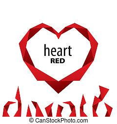 logotipo, fita vermelha, coração