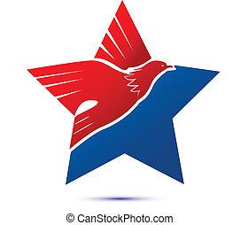 logotipo, flag-eagle, americano, stella