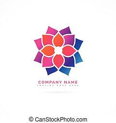 logotipo, flor, desenho, coloridos