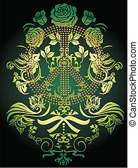 logotipo, flor, emblema, fantasia, calmo