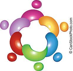 logotipo, flor, equipe