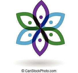 logotipo, flor, gente