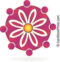 logotipo, flor, trabajo en equipo