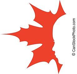 logotipo, foglia, acero