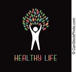logotipo, folhas, árvore, pessoas