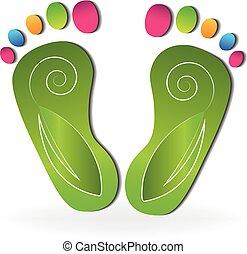 logotipo, folhas, pés, swirly