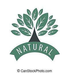 logotipo, folhas, vetorial, árvore, fita