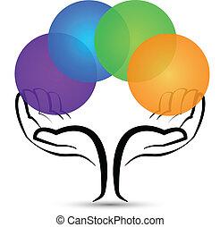logotipo, forma, árvore, mãos