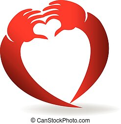 logotipo, forma, amor, mãos