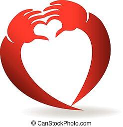 logotipo, forma, amore, mani