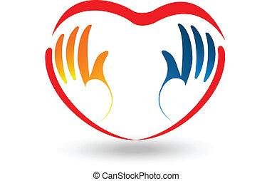 logotipo, forma coração, mãos