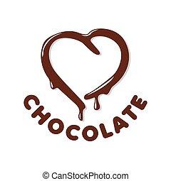 logotipo, forma coração, vetorial, chocolate