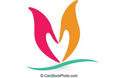 logotipo, forma corazón, manos