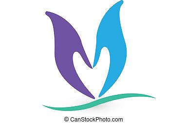 logotipo, forma cuore, mani