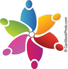 logotipo, forma, flor, trabajo en equipo, colorido