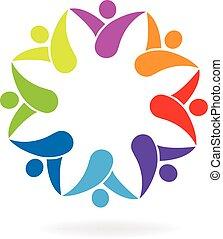 logotipo, forma, flor, trabajo en equipo