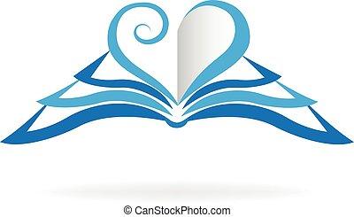 logotipo, forma, libro, amor