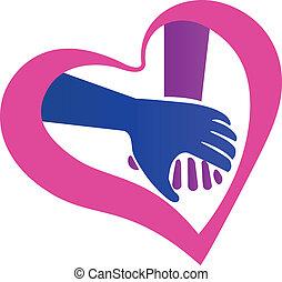 logotipo, forma, mani, presa a terra, cuore