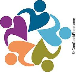 logotipo, forma, pessoas, trabalho equipe, coração