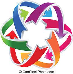 logotipo, forma, setas, átomo