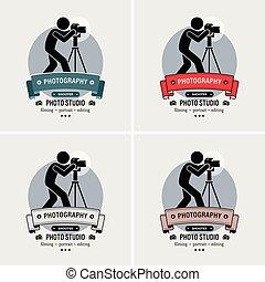 logotipo, fotógrafo, estúdio fotografia, design.