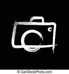 logotipo, fotografia, macchina fotografica, mano, disegnato