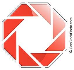 logotipo, fotografia, rosso