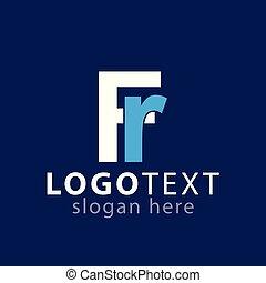 logotipo, fr, vettore, lettera, iniziale