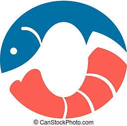 logotipo, frutti mare