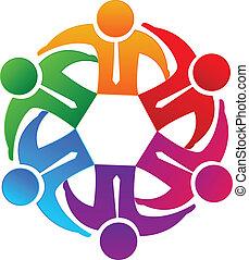 logotipo, funzionari, squadra affari