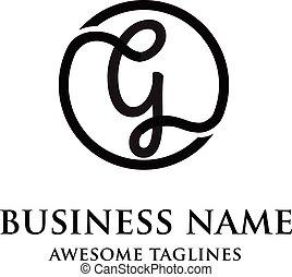 logotipo, g, círculo, carta, elegante