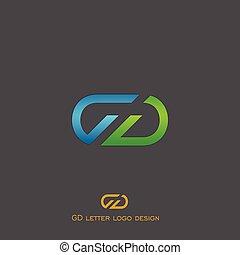 logotipo, g, d, lettera, disegno
