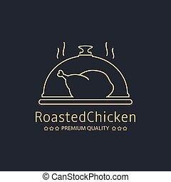 logotipo, galinha, assado