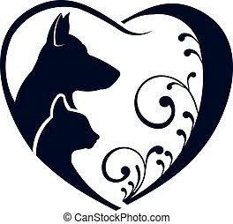 logotipo, gato, amor, cão, coração