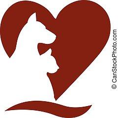 logotipo, gato, amor, perro, corazón