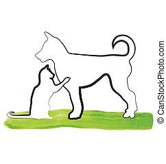 logotipo, gato, juego, perro