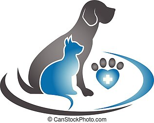 logotipo, gatto, icona cane