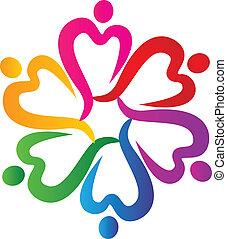 logotipo, gente, alrededor, corazones