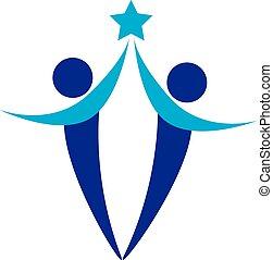 logotipo, gente, dos