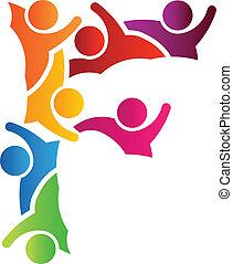 logotipo, gente, f de carta
