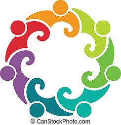 logotipo, gente, reunión, 7, grupo