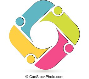 logotipo, gente, reunión, trabajo en equipo