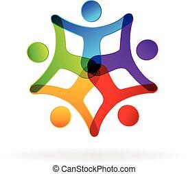 logotipo, gente tiene mani