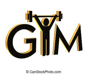 logotipo, gimnasio, condición física, 3d