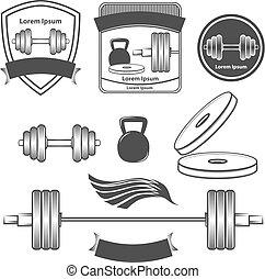 logotipo, ginásio, desporto, poder, condicão física