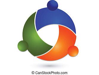 logotipo, global, trabalho equipe, pessoas