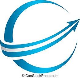 logotipo, globale, freccia, 3d