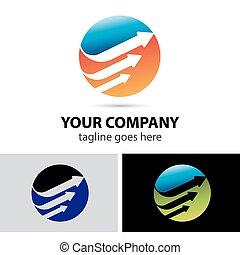 logotipo, globale, freccia, sagoma